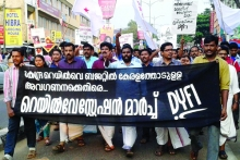 DYFI Protest against all-round hike in rail fares
